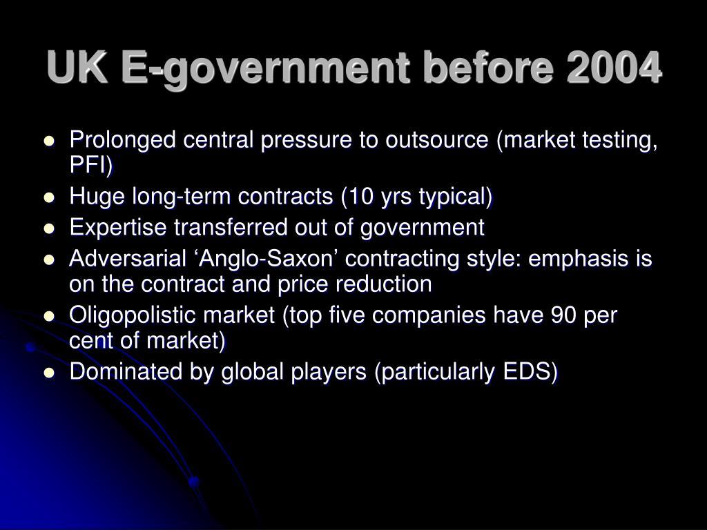 UK E-government before 2004