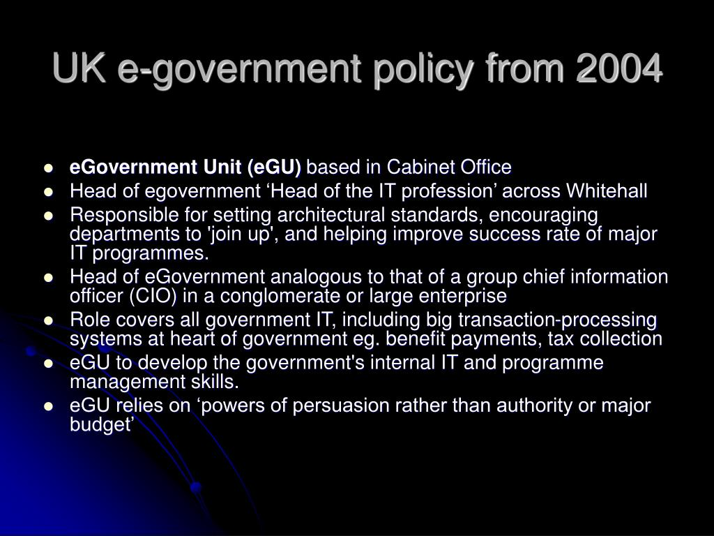 UK e-government policy from 2004