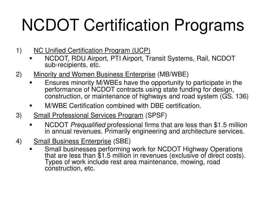 ncdot certification programs l.