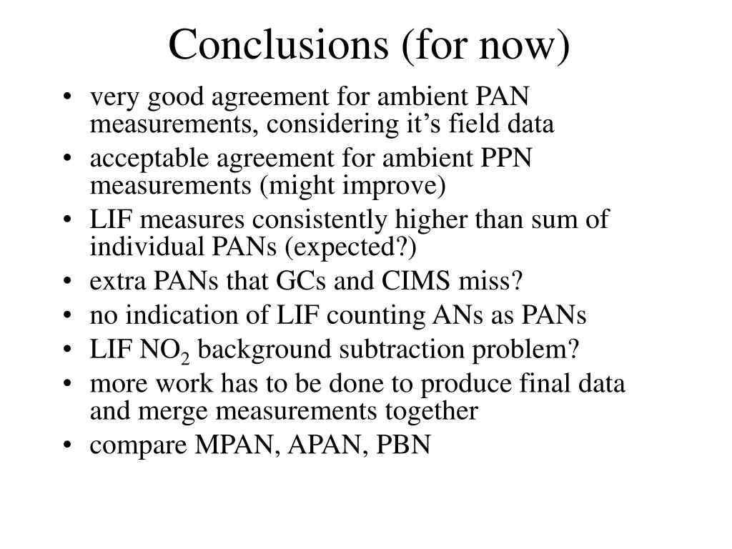 Conclusions (for now)