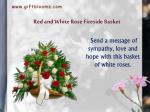 red and white rose fireside basket