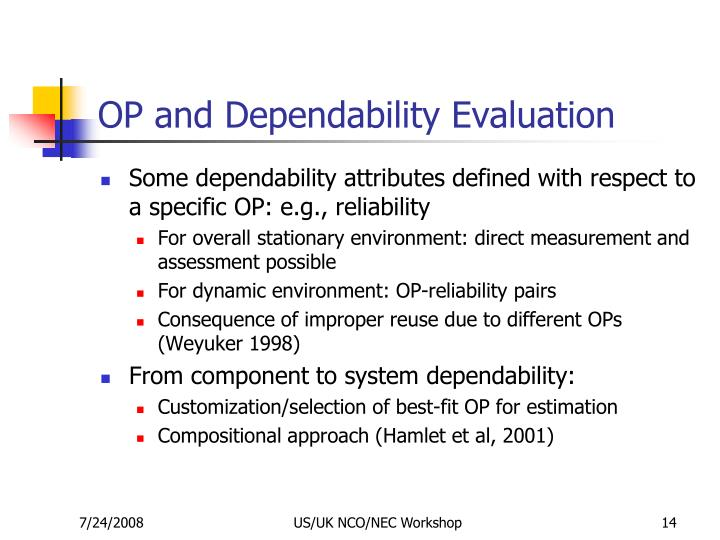 OP and Dependability Evaluation