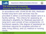 pre admission screening process for nursing facilities