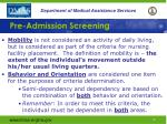 pre admission screening