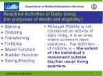 required activities of daily living for purposes of medicaid eligibility