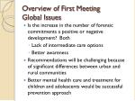 overview of first meeting global issues