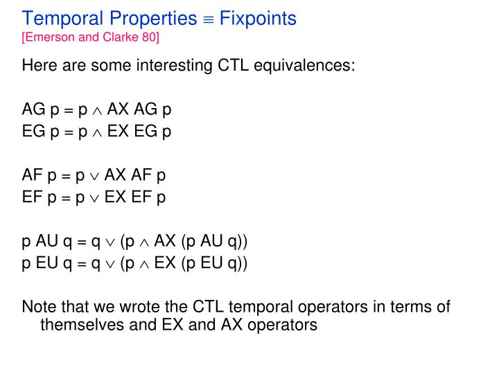 Temporal properties fixpoints emerson and clarke 80