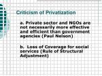 criticism of privatization