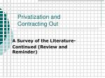 privatization and contracting out
