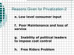 reasons given for privatization 2