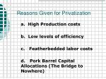 reasons given for privatization