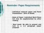 reminder paper requirements
