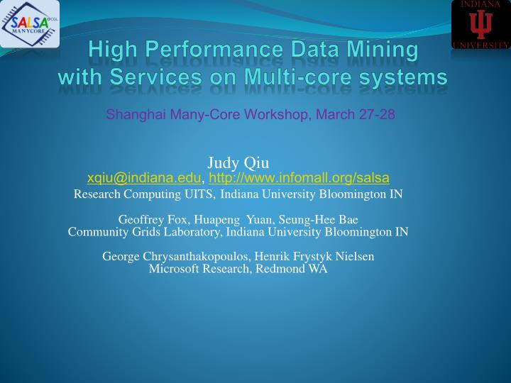 High performance data mining with services on multi core systems