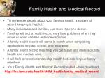 family health and medical record