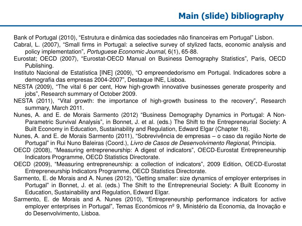Main (slide) bibliography
