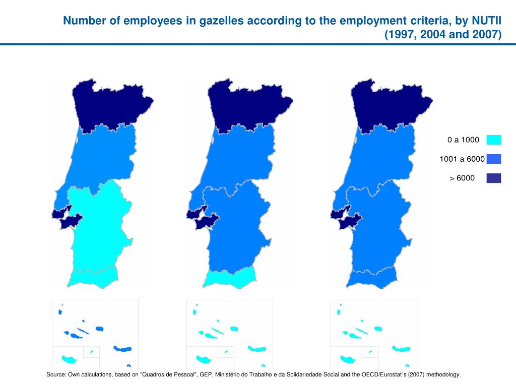 Number of employees in gazelles according to the employment criteria, by NUTII