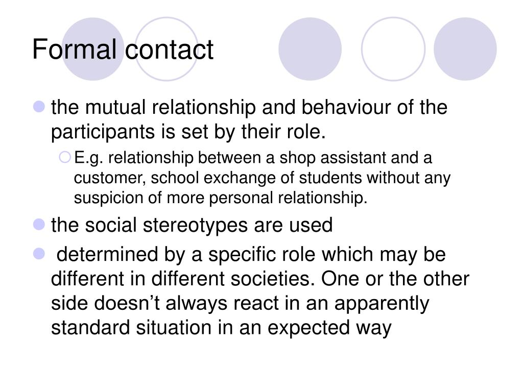 Formal contact
