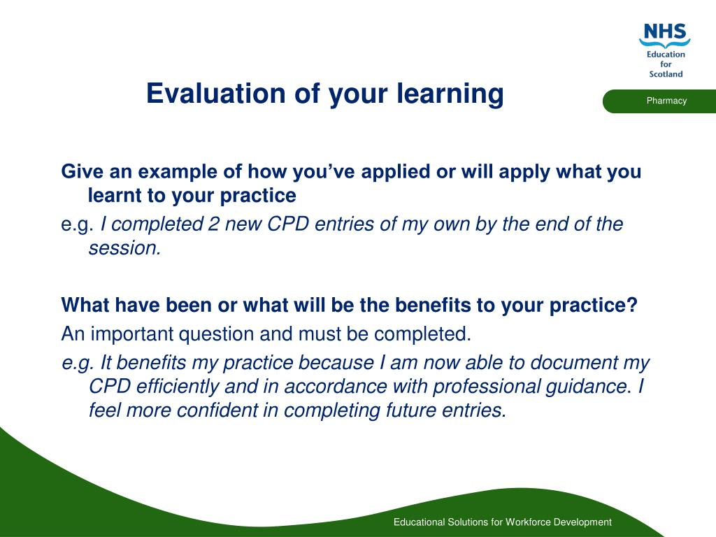 Evaluation of your learning