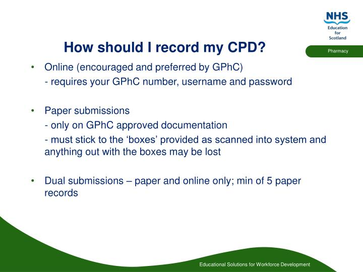 How should i record my cpd