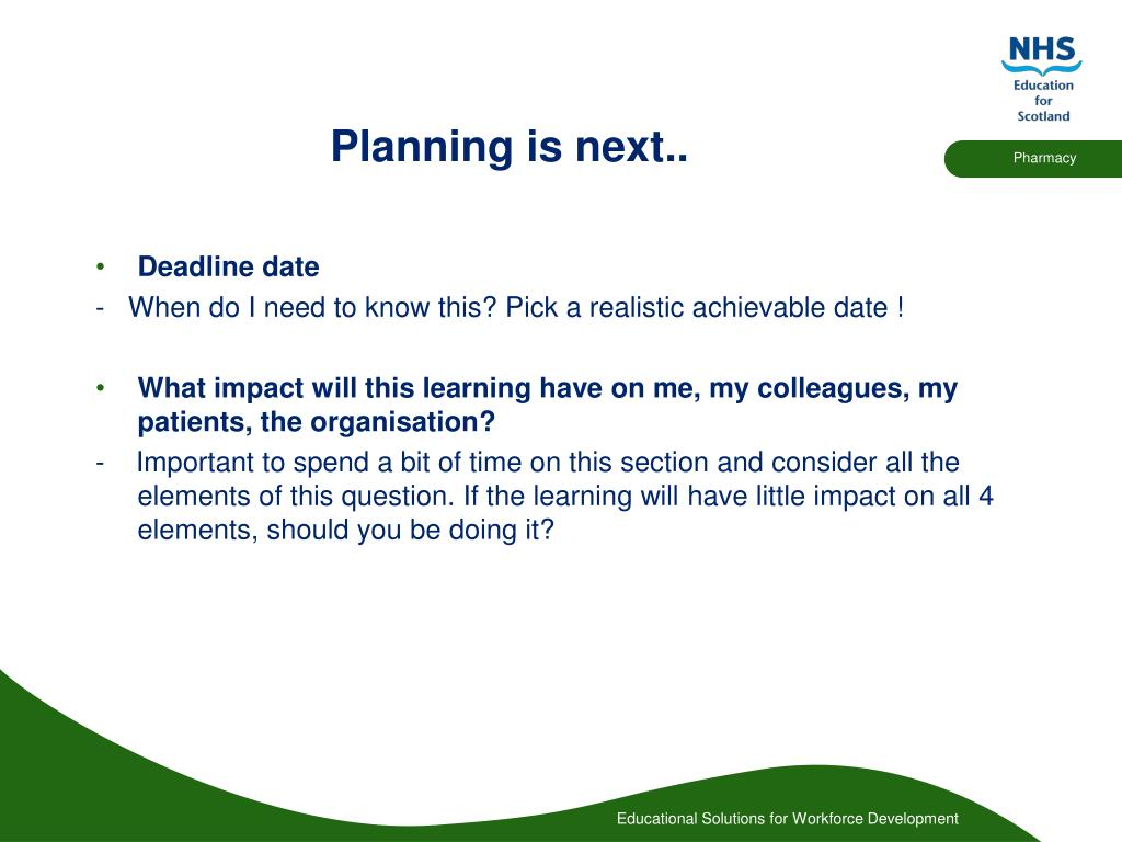 Planning is next..