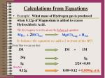 calculations from equations