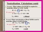 neutralisation calculations contd