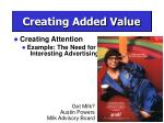 creating added value