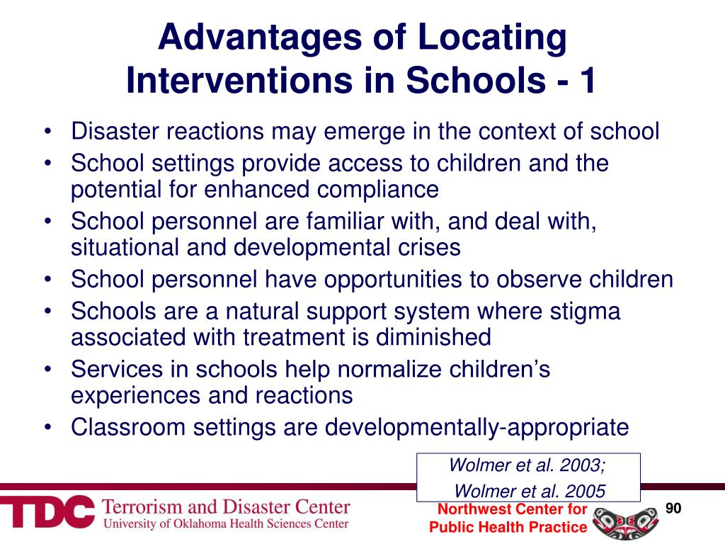 Advantages of Locating Interventions in Schools - 1