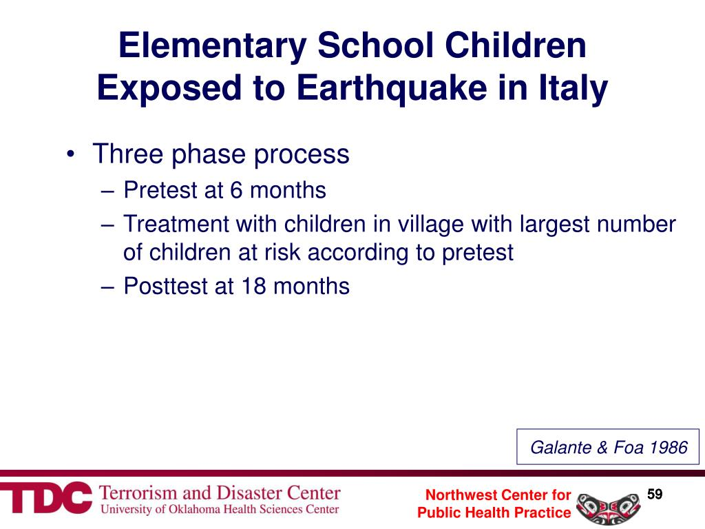 Elementary School Children Exposed to Earthquake in Italy