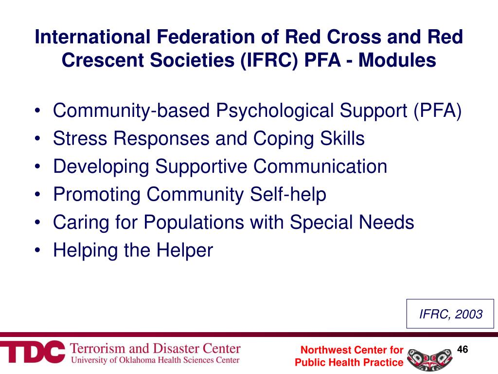 International Federation of Red Cross and Red Crescent Societies (IFRC) PFA - Modules