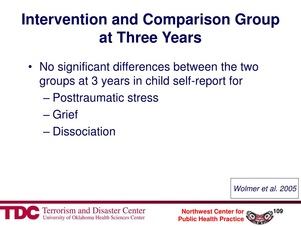 Intervention and Comparison Group at Three Years