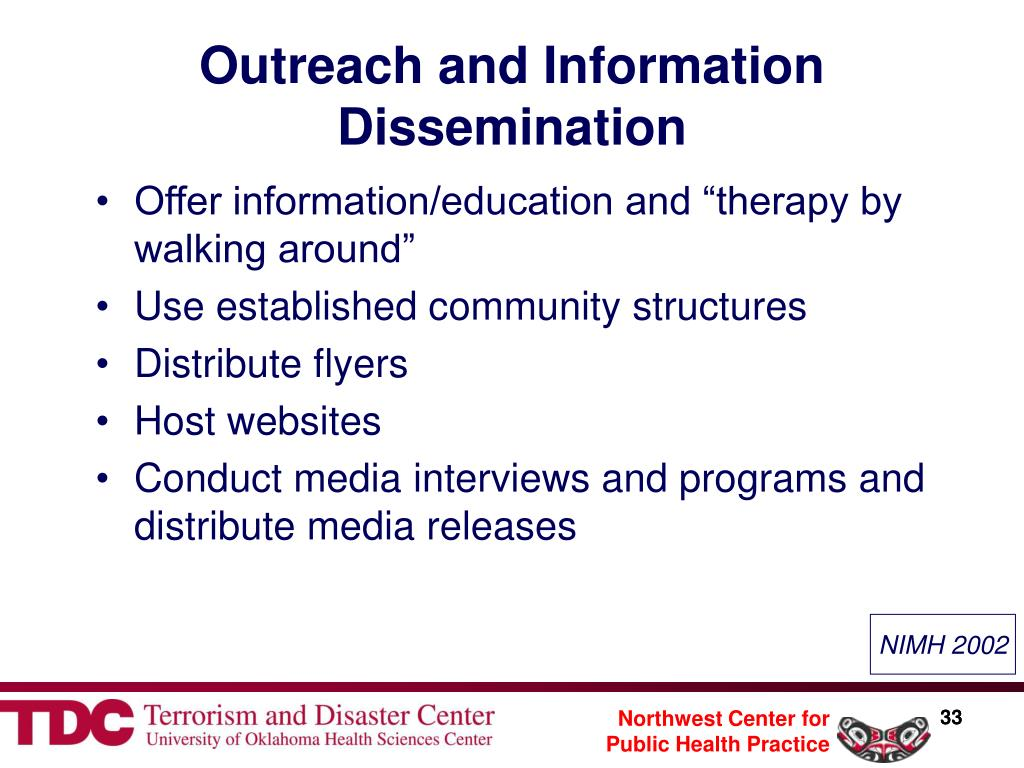 Outreach and Information Dissemination