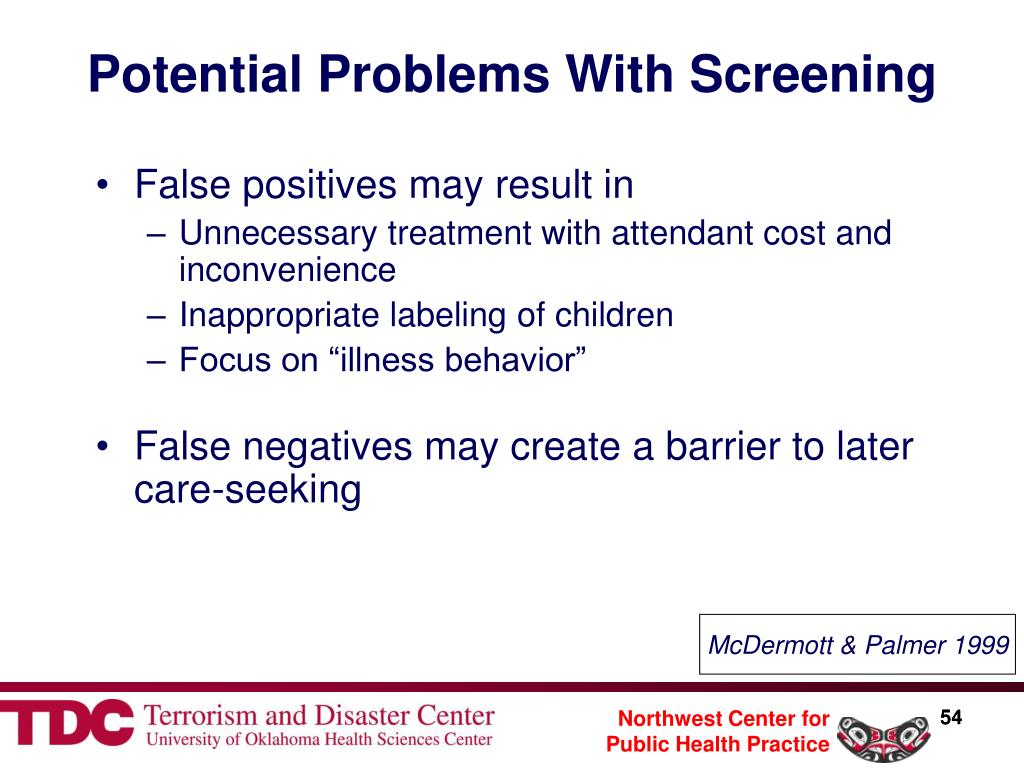 Potential Problems With Screening