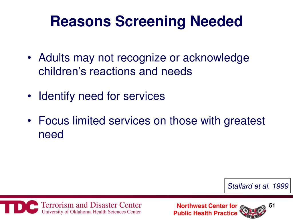 Reasons Screening Needed