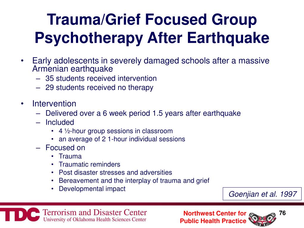 Trauma/Grief Focused Group Psychotherapy After Earthquake