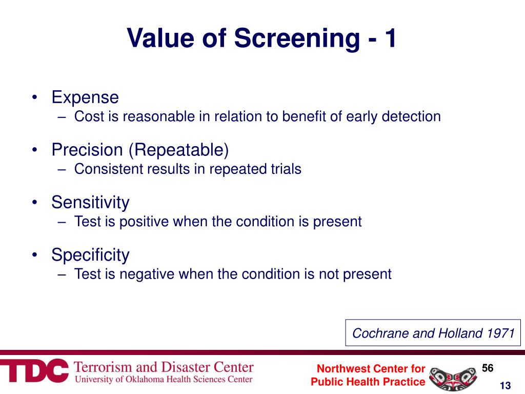 Value of Screening - 1