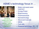 asme s technology focus in