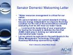 senator domenici welcoming letter