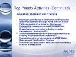 top priority activities continued