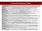 production readiness criteria