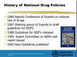 history of national drug policies