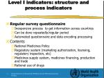 level i indicators structure and process indicators