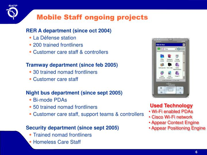 Mobile Staff ongoing projects