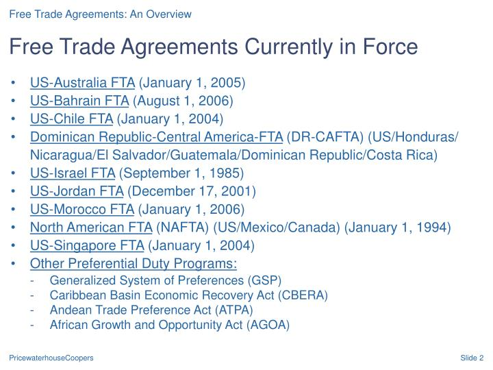 Free trade agreements currently in force
