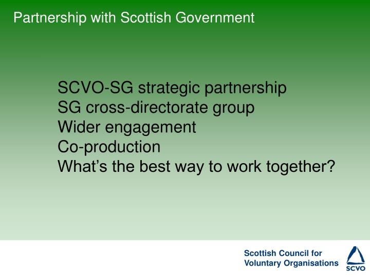 Partnership with Scottish Government