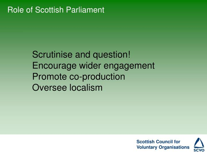 Role of Scottish Parliament