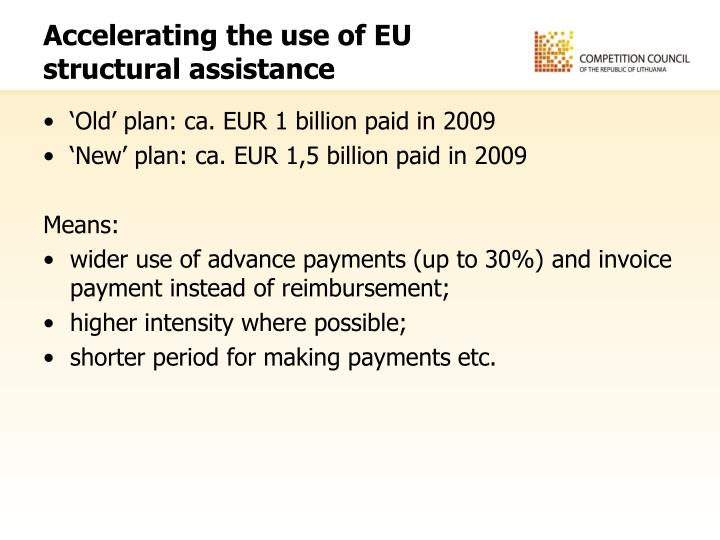 Accelerating the use of EU structural assistance
