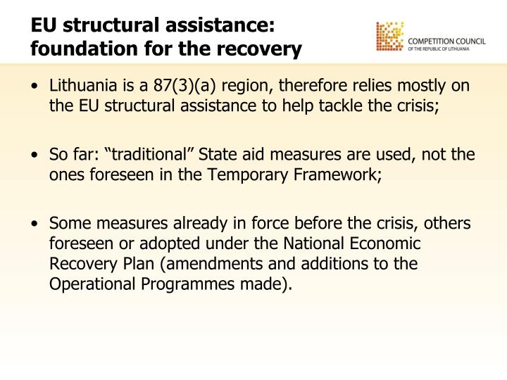 EU structural assistance: foundation for the recovery