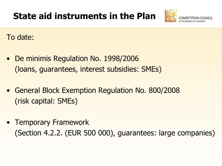 State aid instruments in the Plan