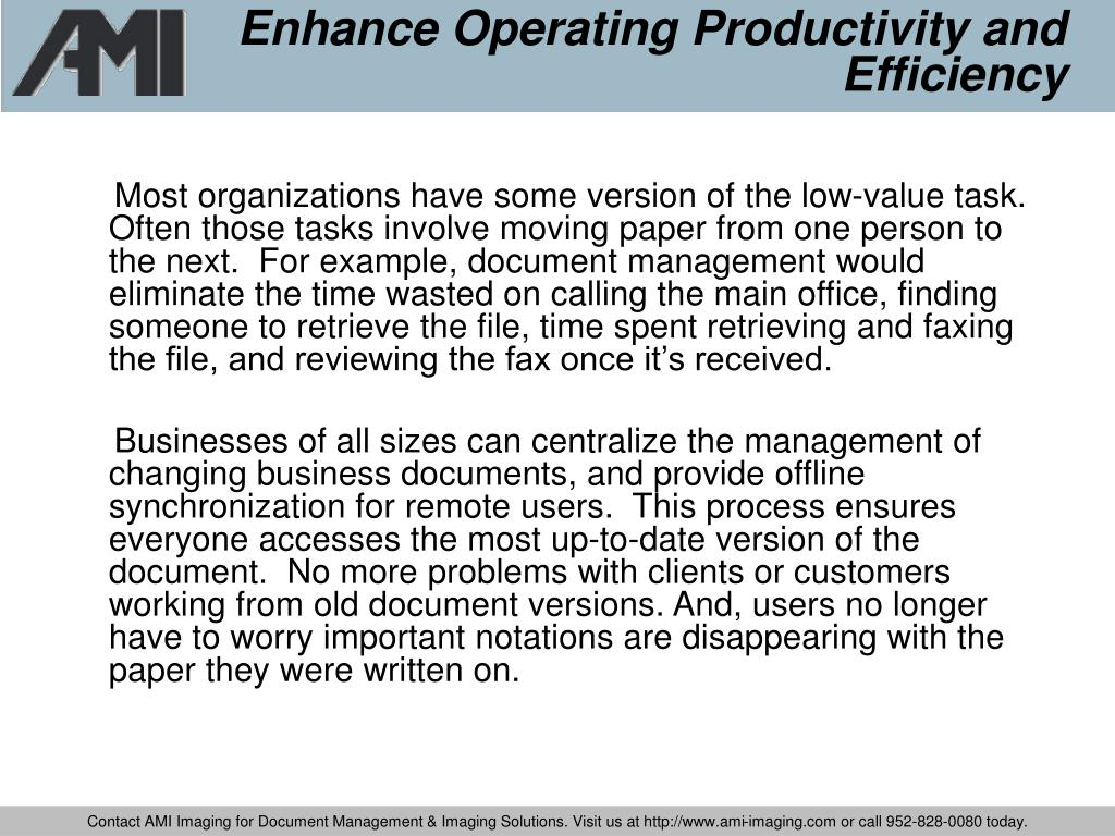 Enhance Operating Productivity and Efficiency